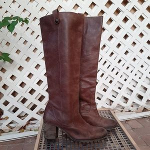 Vince Camuto Gianna brown leather riding boots
